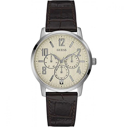 Guess-Mens-Original-Brown-Leather-Analog-DayDate-Watch-W0604G2