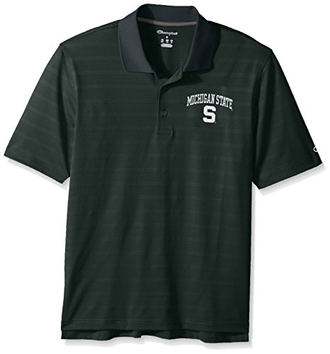 Champions Polo (NCAA Michigan State Spartans Champion Men's Textured Solid Polo, Large, Dark Green)