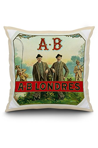 Londres Natural (A.B. Londres Brand Cigar Box Label (20x20 Spun Polyester Pillow, White Border))