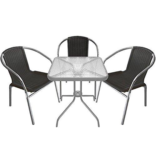 4tlg bistroset bistrogarnitur balkonm bel set gartengarnitur sitzgruppe glastisch 60x60cm 3x. Black Bedroom Furniture Sets. Home Design Ideas