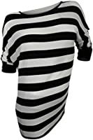Two by Vince Camuto Women's Ivory Black Striped Dolman Sleeve Jersey Top