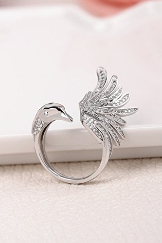 Generic Europe and America, Ms. Swan Princess Swan full diamond ring ring ring finger ring ring opening boxed gift girlfriends