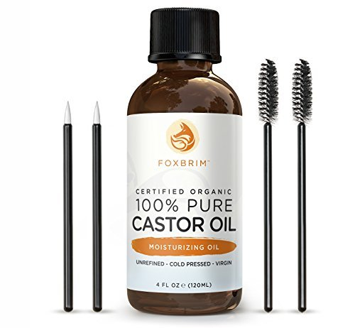 100% Pure Organic Castor Oil - Hexane Free - Premium Oil With Incredible Benefits For Hair, Skin & Nails - Lash & Brow Growth, Split End Repair, Fade Fine Lines, Heal Scars - Foxbrim 4OZ CO-29