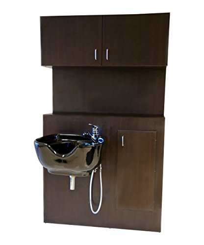 (BR Beauty 1067 Shampoo Bulkhead with Storage Cabinet)