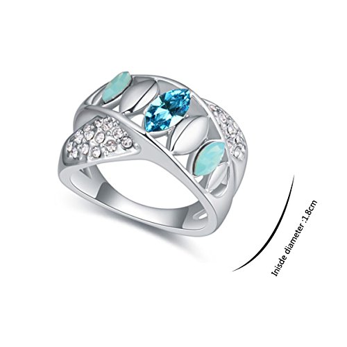 JingChow Women Accessories Jewelry Decorations Swarovski Element Rings Plated with Austria Crystal (Blue)