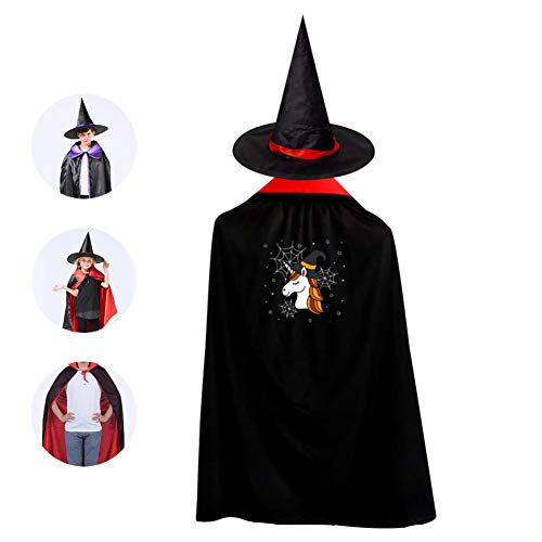 69PF-1 Halloween Cape Matching Witch Hat Cute Unicorn Wizard Cloak Masquerade Cosplay Custume Robe Kids/Boy/Girl Gift -