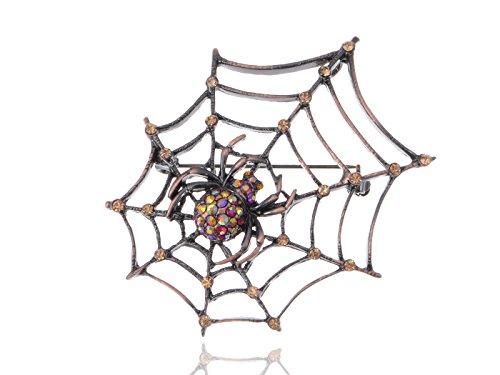 Alilang Copper Tone Light Topaz Colored Rhinestones Antique Spider Web Brooch Pin