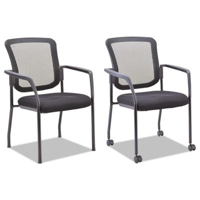 Alera ALEEL4314 Mesh Guest Stacking Chair, Black