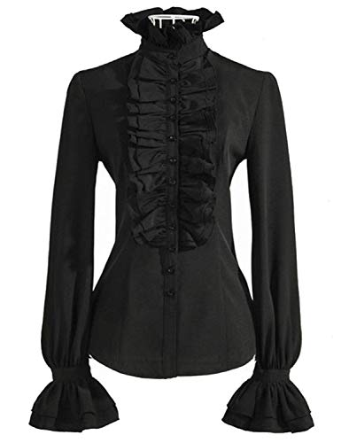 PrettyGuide Women Stand-Up Collar Lotus Ruffle Shirts Blouse Black US ()