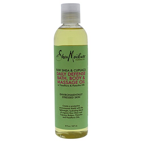 Shea Moisture Raw & Cupuacu Daily Defense Bath-Body & Massage Oil for Unisex, 8 Ounce (Raw Body Oil)