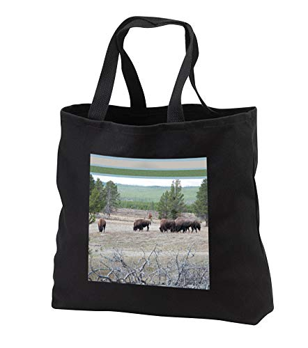 Jos Fauxtographee- Framed Top Bison Foraging - A feild of Bison grazing on the grass in Yellowstone with top frame - Tote Bags - Black Tote Bag JUMBO 20w x 15h x 5d (tb_294261_3)