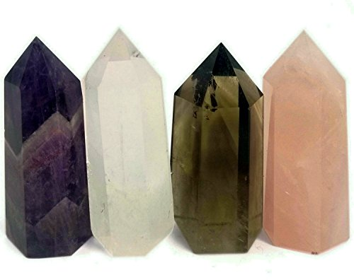 (Shangbo Crystal Healing Wand/2''Amethyst,Rose Crystal,Clear Crystal&Smoky Citrine Crystal(Set of 4))