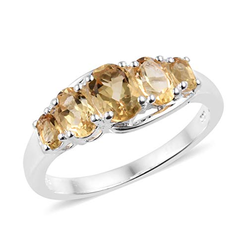 925 Sterling Silver Oval Citrine 5 Stone Statement Ring for Women Size 10 Cttw ()