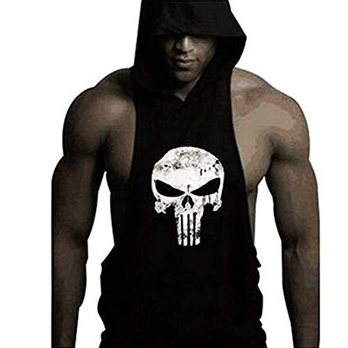 YYW Mens Skull Print Stringer Bodybuilding Gym Tank Tops Workout Fitness Vest (Black, Large)
