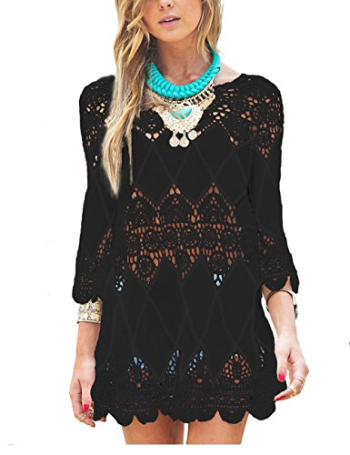 GDKEY Women's Beach Wear Bikini Cover Up Crochet Tunic Dress (L, Black)