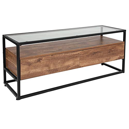 Details about Ultra-Modern Living Room Rustic Glass Top Storage Coffee  Table Wood Drawer Large