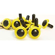 Sassy Bears 15mm Light Yellow Safety Eyes for Bear, Doll, Puppet, Plush Animal and Craft - 10 Pairs