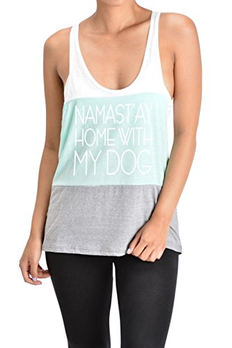 Tough Cookie's Women's Wide Stripe Triblend Namast'ay Home with My Dog Tank Top (Made in USA) (Small, White/Mint/Grey) (Namast Ay Home With My Dog Shirt)