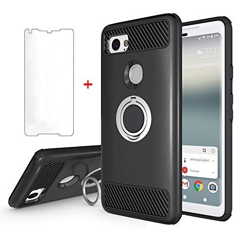 Google Pixel 2 XL Phone Case with Tempered Glass Screen Protector Ring Holder Stand Kickstand Slim Heavy Duty Full Body Silicone Protective Hard Rugged Cover for Pixel2 2XL Women Girls Men Black