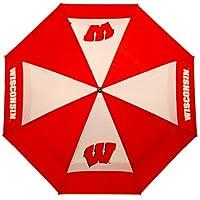 """Equipo de golf NCAA Wisconsin Badgers 62 """"paraguas de golf con funda protectora, diseño de protección contra el viento con dosel doble, botón de apertura automática"""