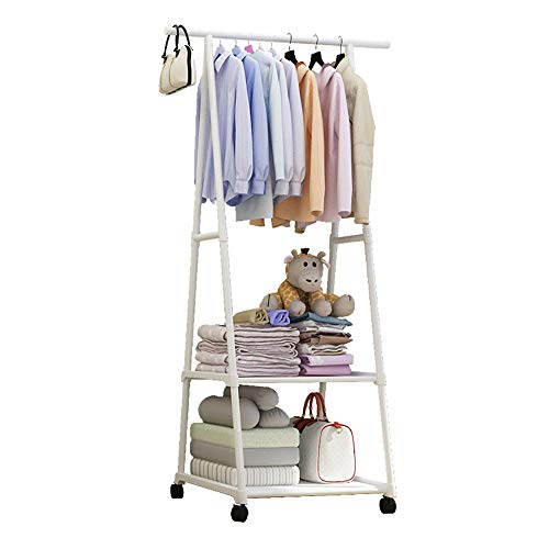 PAMPOO Mobile Coat Rack, Two Storage compartments, for Storage of Clothing, Shoe Boxes, Large Capacity and high Load-Bearing Steel Pipe Storage Space. (White)