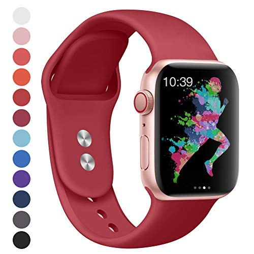 EXCHAR Compatible for Apple Watch Band 40mm, 38mm, for Apple Watch Series 4, 3, 2, 1, iWatch, Sport T, Edition with Soft Safety Silicone and Lightweight Design- S/M Wine Red