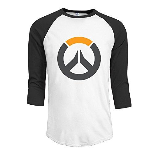 Men's Customized Video Game Logo 3/4 Sleeve T-shirts Black Size M