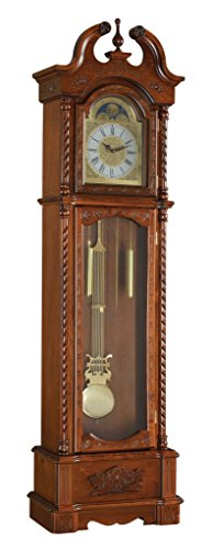 Major-Q 9097085 82 H Traditional Style Dark Oak Finish Grandfather Floor Clock with Movement Pendulum Included