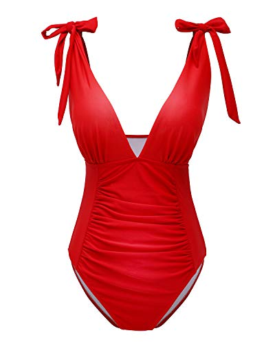 Red Halter Swimsuit - YOLIPULI Slimming Monokini Bathing Suits for Women High Waisted Swimwear-Red XL