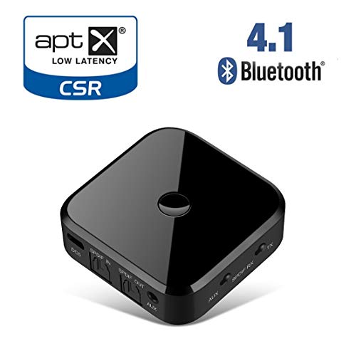 Bluetooth Transmitter for TV, Support Fiber & 3.5mm AUX Dual Compatible Interface TX Transmission+RX Receiving Mode, Lossless Audio Decoding for Home Music Streaming
