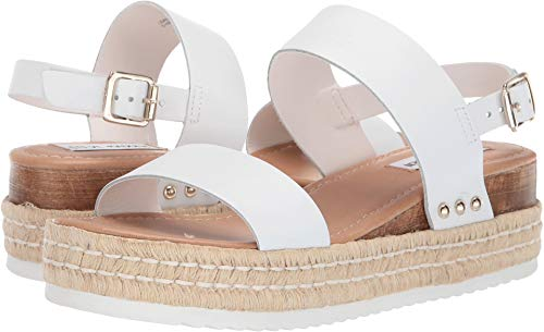 Steve Madden Women's Catia Wedge Sandal White Leather 8 M US