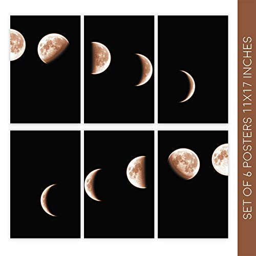 Witty Ways Moon Decor for Home | Set of Six Beautiful 11X17 Moon Phases Wall Art Poster | These Gorgeous Decorative Prints Come with Sticky Squares for Easy Installation - Face Art Moon Wall