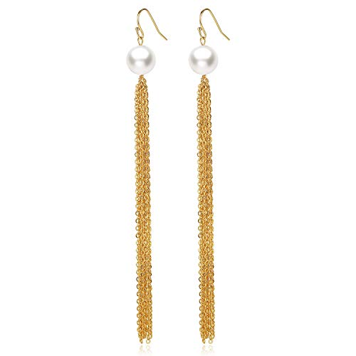 - Women's Tassel Long Earring Gold & Pearl Earrings Handmade Jewelry