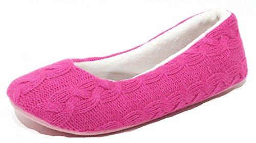 Zapato Mädchen Damen Hausschuhe Slipper Strickhausschuhe Hüttenschuhe Puschen Pink