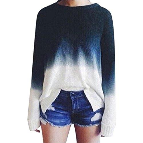 Damen Sweater, Switchali Frauen Gestrickte Strickjacke Langhülse Steigung Farbe Pullover (M, Blau)