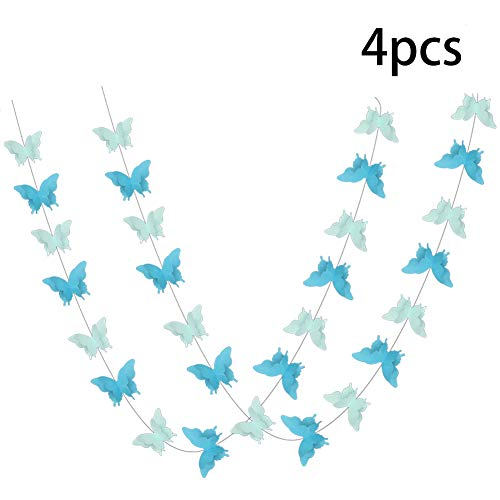 3d Welcome Banner - ADLKGG Butterfly Hanging Garland 3D Paper Bunting Banner Party Decorations Wedding Baby Shower Home Decor Blue 4 Pack, 110 inch