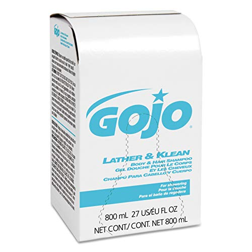 GOJO 800 Series Lather & Klean Body & Hair Shampoo, Pleasantly Scented, 800 mL Wash Refill for GJOO 800 Series Bag-in-Box Push-Style Dispenser (Case of 12) - 9126-12