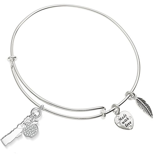 - Enni of York Statue of Liberty With Crystal Apple Charm Expandable Bangle Bracelet