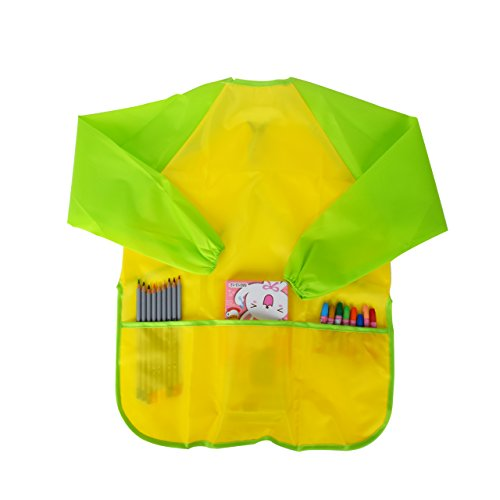 Old Paint Green (Newcomdigi Children's Art Smock Long Sleeve Painting Apron Waterproof Painting Apron(Yellow and Green))
