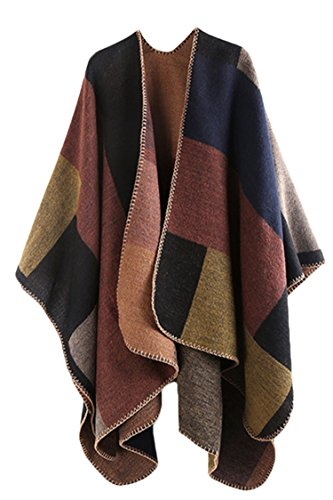 Plaid Poncho (VamJump Women Winter Cashmere Plaid Oversized Poncho Cape Shawl Cardigan Coat, Brown,onesize)