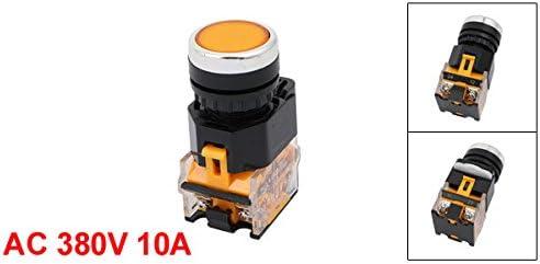 uxcell 押しボタンスイッチ 自己ロックスイッチ オレンジLEDインジケータ AC 380V 10A