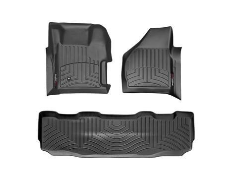 2008-2010 Ford Super Duty (F-250/F-350/F-450/F-550) SuperCrew Black Weathertech Floor Liner (Full Set: 1st & 2nd Row) [With 4X4 Shifter]