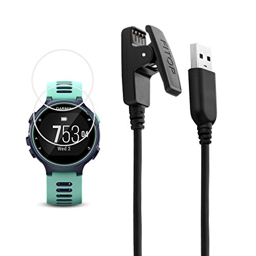 X1 for Garmin Forerunner 735xt Charger Charging Clip Synchronous Data Cable + X2 Free HD Tempered Glass Screen Protector Replacment Charger for Garmin Forerunner 735 Smart Watch