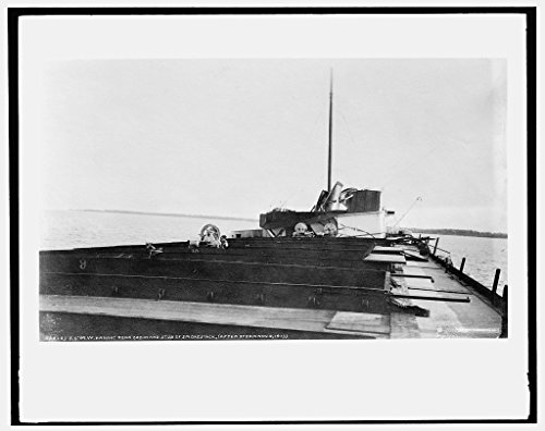 8 x 10 Reprinted Old Photo of S.S. M.W. i.e. Howard M. Hanna rear cabin and stub of smokestack after storm 1913 Detriot Publishing co. 19a