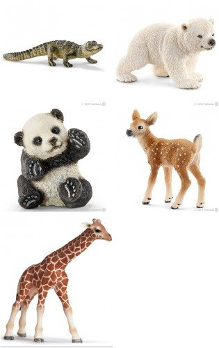 Schleich Wild Animal Babies Set of 5 Use for Play or Education Bagged Together Ready to Give