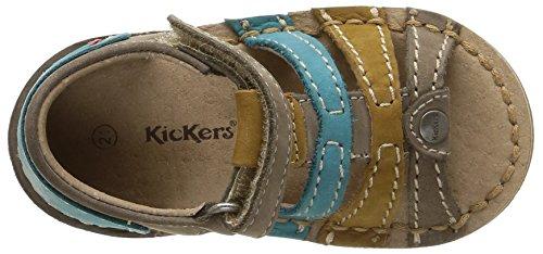 Kickers Woopy - Patucos de cuero Bebé - niño Beige (Beige/Bleu)