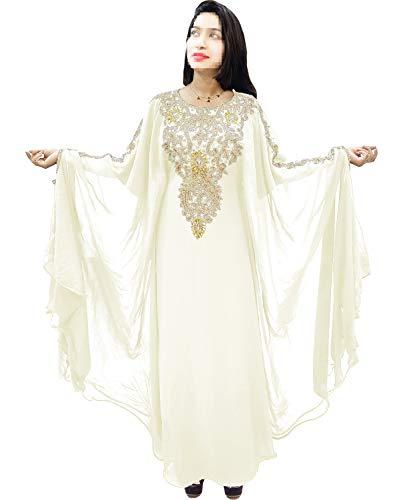 aecfe38240 African Boutique Dubai Kaftan for Women Beads Work Maxi Dress Gown Formal  Chiffon African Wear Ivory