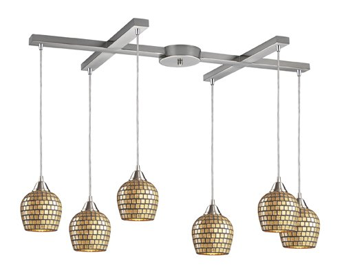 Gold Satin Pendant Clear (Elk 528-6GLD 6-Light Pendant In Satin Nickel And Gold Mosaic Glass)