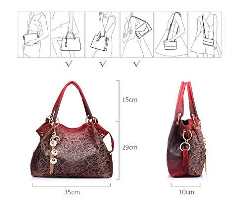 Pu Donna Stampa Red Totes Messenger Borse Floral gray Moda Borse Fuori Leather Crossbody Femminile Scava Bag Da Ladies Ombre Spalla qxCBp5