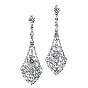 Amazon.com: Mariell Art Deco Cubic Zirconia Vintage Wedding ...